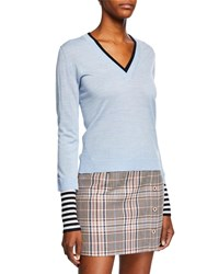 Veronica Beard Avory Wool Sweater With Contrasting Sleeves And Neck Light Blue