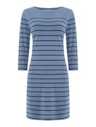 Brakeburn Jersey Stripe Dress Blue