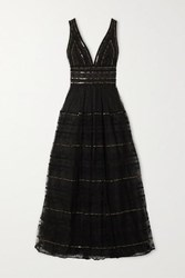 Costarellos Sequined Embroidered Tulle Gown Black