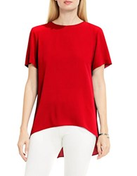Vince Camuto Petite Jewelneck Short Sleeve High Low Blouse Red