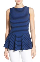 Women's Bobeau Stripe Sleeveless Stretch Knit Peplum Top Navy Black