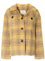 Goen.J Checked Eco Fur Jacket 60