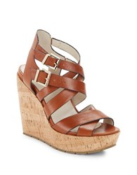 Kenneth Cole Corbin Leather Wedge Sandals Brown