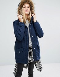 Noisy May Festival Faux Fur Parka Total Eclipse Navy