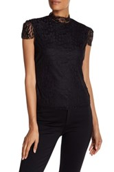 Laundry By Shelli Segal Lace Mock Neck Cap Sleeve Shirt Black