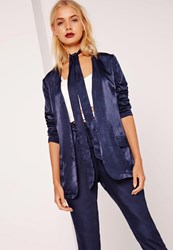 Missguided Tie Neck Satin Blazer Navy Blue