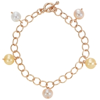 London Road 9Ct Rose Gold And Pastel Cultured Fresh Water Pearl Bracelet