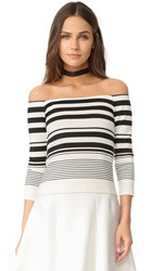 Cupcakes And Cashmere Leilani Stripe Off The Shoulder Tee Ivory