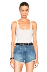Enza Costa Rib Baseball Tank Top In Neutrals White