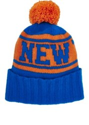 The Elder Statesman X Nba Women's Knicks Cashmere Beanie Orange