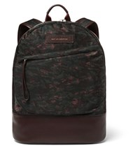 Want Les Essentiels Kastrup Leather Trimmed Printed Nylon Backpack Green