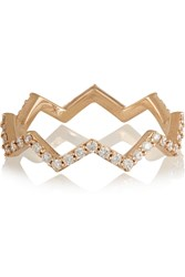 Khai Khai Zig Zag 18 Karat Rose Gold Diamond Ring Metallic