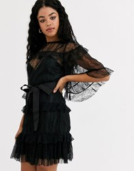 Keepsake Spotted Msh Overlace Mini Dress With Tie Waist In Black