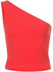 Strateas Carlucci One Shoulder Zipped Side Top Polyester Red