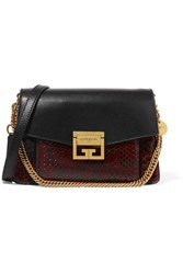 Givenchy Gv3 Small Leather And Python Shoulder Bag Dark Brown