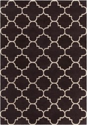 Chandra Davin Patterned Rectangular Contemporary Wool Area Rug 4 Brown