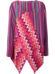 The Elder Statesman Draped Open Front Cardigan Pink And Purple