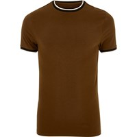 River Island Mensbrown Muscle Fit T Shirt
