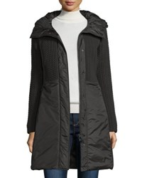 Post Card Quilted 3 Layer Hooded Parka Nero Black