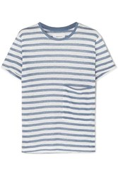 Current Elliott The Drop Pocket Striped Linen T Shirt Blue