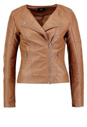 Only Onlcarly Faux Leather Jacket Cognac Brown