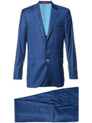 Isaia Checked Suit Blue