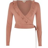 River Island Womens Pink Frill Wrap V Neck Top