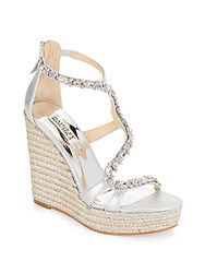 Badgley Mischka Catniss Rhinestone Embellished Metallic Leather Espadrille Platform Wedge Sandals Silver