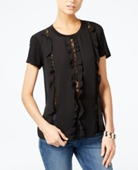 Guess Harper Lace Trim Ruffled Top Jet Black