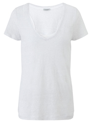 Jigsaw Linen Double Layer Striped T Shirt White