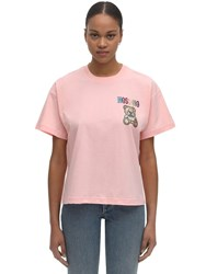 Moschino Over Crop Jersey T Shirt W Embellishment Pink
