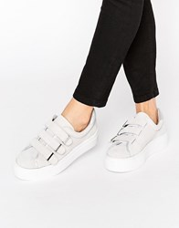 Kg By Kurt Geiger Luther Velcro Strap Suede Flatform Plimsolls Grey Light Suede