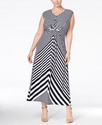 Ny Collection Plus Size Striped Maxi Dress Navy Straws
