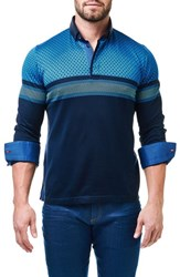 Maceoo Men's Degraded Circle Contemporary Fit Polo With Woven Cuffs