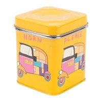 Ian Snow Hand Painted Rickshaw Stainless Steel Canister Yellow