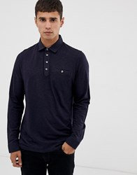 Ted Baker Long Sleeve Polo Shirt With Woven Collar Navy