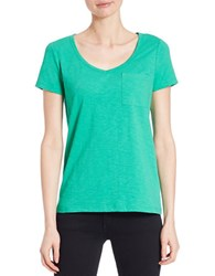 Lord And Taylor Solid V Neck Tee Bright Green