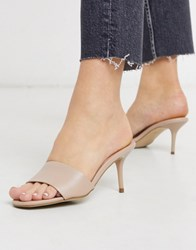 New Look Leather Stiletto Mules In Oatmeal Cream