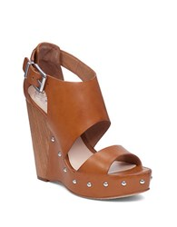 Vince Camuto Matta Leather Platform Sandals Brown