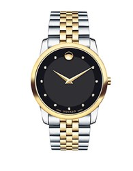 Movado Museum Classic Diamond And Two Tone Stainless Steel Bracelet Watch