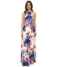 Eliza J Sleeveless High Halter Neck Maxi With Banded Inset Waist Print Women's Dress Multi