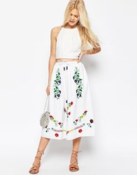 Asos Embroidered Midi Skirt Multi White