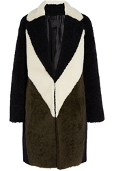 J.Crew Collection Color Block Shearling Coat