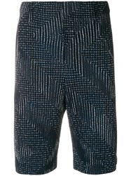 Homme Plisse Issey Miyake Pleated Embroidered Shorts Blue