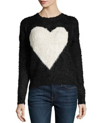 Neiman Marcus Heart Print Fuzzy Knit Sweater Black Ivory