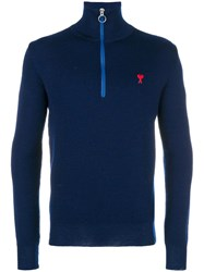 Ami Alexandre Mattiussi De Coeur Zipped Trucker Pass Sweater Blue