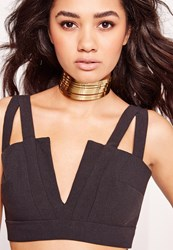 Missguided Metal Layered Choker Gold Gold