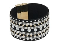 Guess Wide Faux Leather Studded Cuff With Rhinestone Accents Bracelet Gold Crystal Jet Silver Bracelet Black