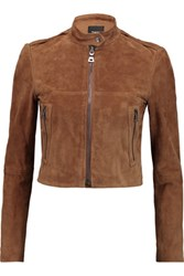Theory Baewick Cropped Suede Jacket Tan
