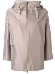 Herno Three Quarters Sleeve Hooded Coat Nude Neutrals
